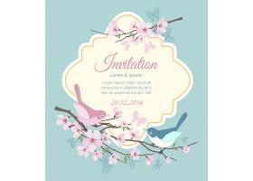带着鸟儿和花枝的婚礼请柬花泉花卉和活_110594720101