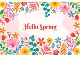 带问候语的花卉春色背景_121019940101