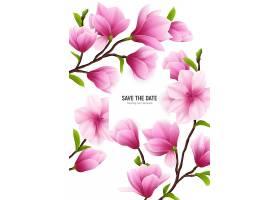 彩色现实主义木兰花框带有拯救日期标题和_74989530101