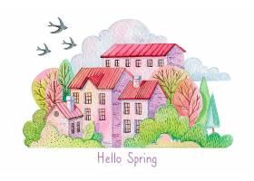 春光明媚的山水風光_123591910101