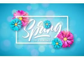 春天就要来了一种带排字字母的花卉设计模_72304600101