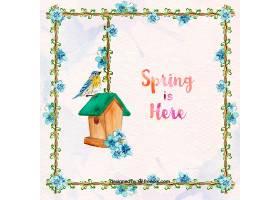 春天的背景花架和木屋的鸟_10666930101