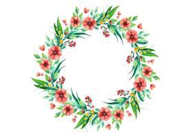 水彩野花花环植物花卉组成_123317050101