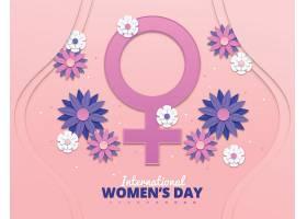 现实主义的国际妇女节插图鲜花和女性符号_120621480101