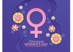 用鲜花和女性符号制作的国际妇女节插图_120621420101
