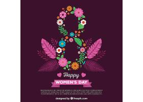 紫色平坦妇女节背景_16509670102