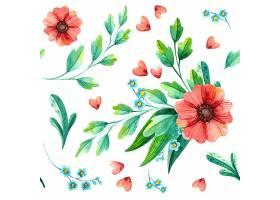 花卉无缝图案植物水彩画_123316910101