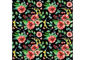 花卉无缝图案植物水彩画_123316970101