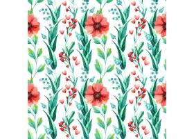 花卉无缝图案植物水彩画_123316990101