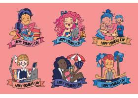 手绘国际妇女节徽章系列_126879790102