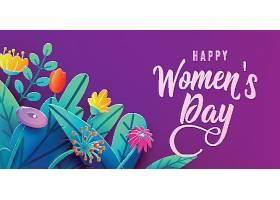 国际妇女节横幅用奇幻的剪纸鲜花树叶手_108171960101