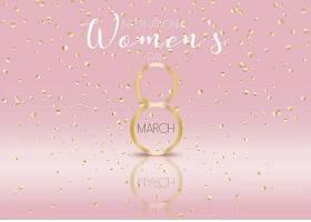 以金色五彩纸屑为背景的国际妇女节_70390810101