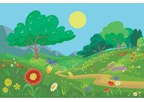 手绘设计美丽的春光山水_68492930102