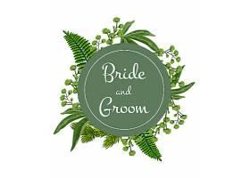新娘和新郎在绿色圆圈上刻字白色背景上印_27482750101