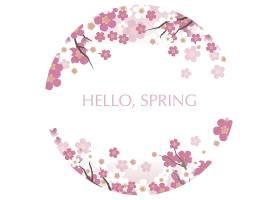 樱花盛开的圆形矢量插图和问候春天的文字_112895410101