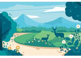 自然景观中的母子鹿_68407460101
