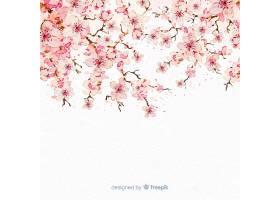 水彩画樱花枝背景_40410260102