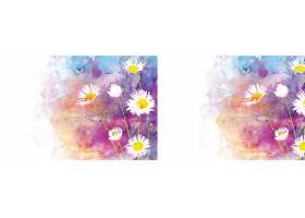 水彩画自然背景配以雏菊_51228260102