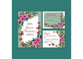 水彩画邀请结婚用毛笔花卉概念设计婚卡模板_119534270101