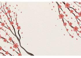 水彩粉色梅花背景文案空间_123954630101