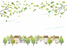 田园诗般的水彩小镇景观白色背景上孤立着_125868150101