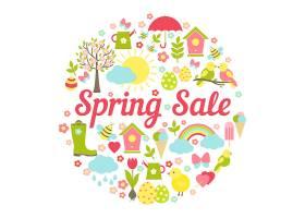 装饰性的圆形春季拍卖会采用繁忙的矢量设_106035690101