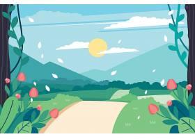 阳光明媚的日子和路泉景观_68407450101