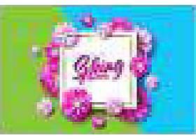 弹簧文本一种带排字字母的花卉设计模板_72304700101