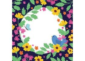 鲜花小鸟边框
