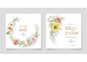 盛开的花卉春季邀请卡套装_125132790101