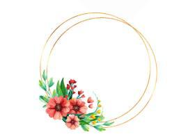 空荡荡的金色圆框上插着春天的花朵_125021030101