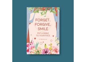 海报模板以鲜花花束设计为世界微笑日概念_102199610101