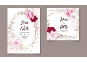 漂亮的手绘婚礼邀请函栗色的花卉图案_126037810101