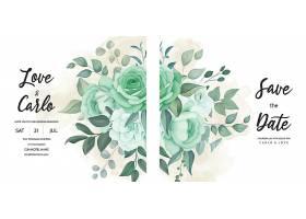 绿色植物花叶飘逸的婚礼请柬_125132150101