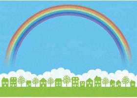 绿野蓝天白云彩虹文字空间天衣无_125868160101