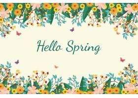 美丽的平坦的春色背景花团锦簇_122402030102