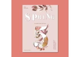 春季海报鲜花装饰卡上有花卉缤纷的花园_49498800101