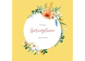 春季花圈框鲜花装饰卡上有花团锦簇的花园_49498950101