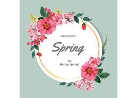 春季花圈框鲜花装饰卡上有花团锦簇的花园_49509400101