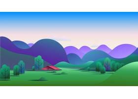 草地上有丘陵和露营帐篷的自然早晨景观矢_57242570101