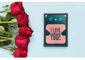为情人节配上玫瑰花的相框样机_37726700102