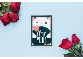 为情人节配上玫瑰花的相框样机_37726730102