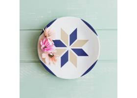 印有鲜花的盘子样机_24194180102