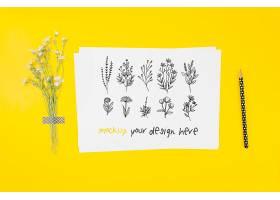 各种水墨花卉图样植物样机_99052660103