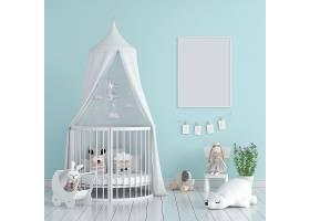 带框架样机的蓝色儿童卧室_111431930102