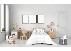 白色儿童卧室带框架样机_116791230102