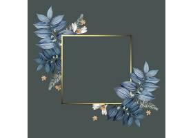 灰色背景花卉叶子金框文艺背景设计