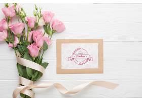粉红色玫瑰卡片的俯视图_102955370103