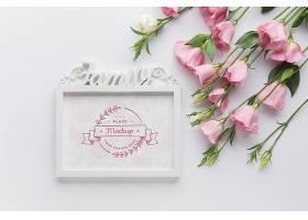 粉红色玫瑰相框的俯视图_102955630103图片