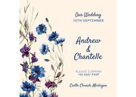 粉红色的婚礼请柬上绘有紫色和蓝色的鲜花_51812420101